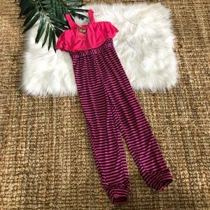 Other - NWT Girls Pink Ruffle Striped Jumper Romper 10 12